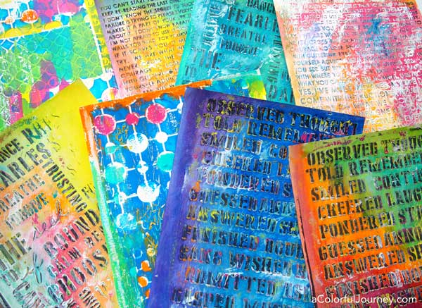 Making colorful textured papers with modeling paste and stencils workshop with Carolyn Dube
