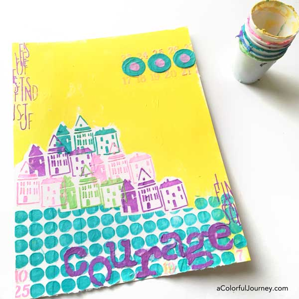 Spray inks and tissue paper Modeling paste play with Carolyn Dube