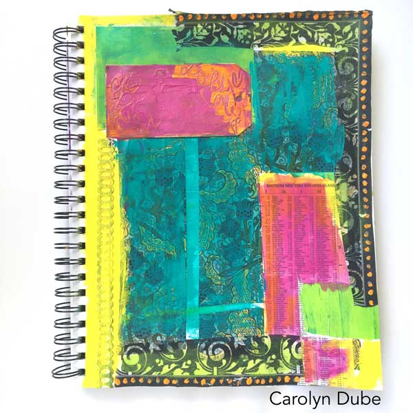 Collaging a background Carolyn Dube