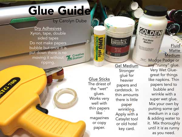 Types of glue for art journaling collage by Carolyn Dube