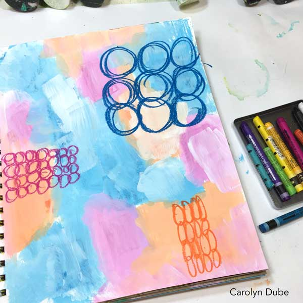 Watercolor crayons and art journaling with Carolyn Dube